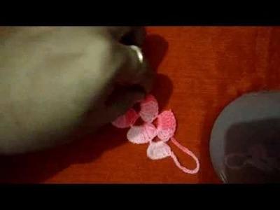 Crochet lace zigzag pattern. bracelet