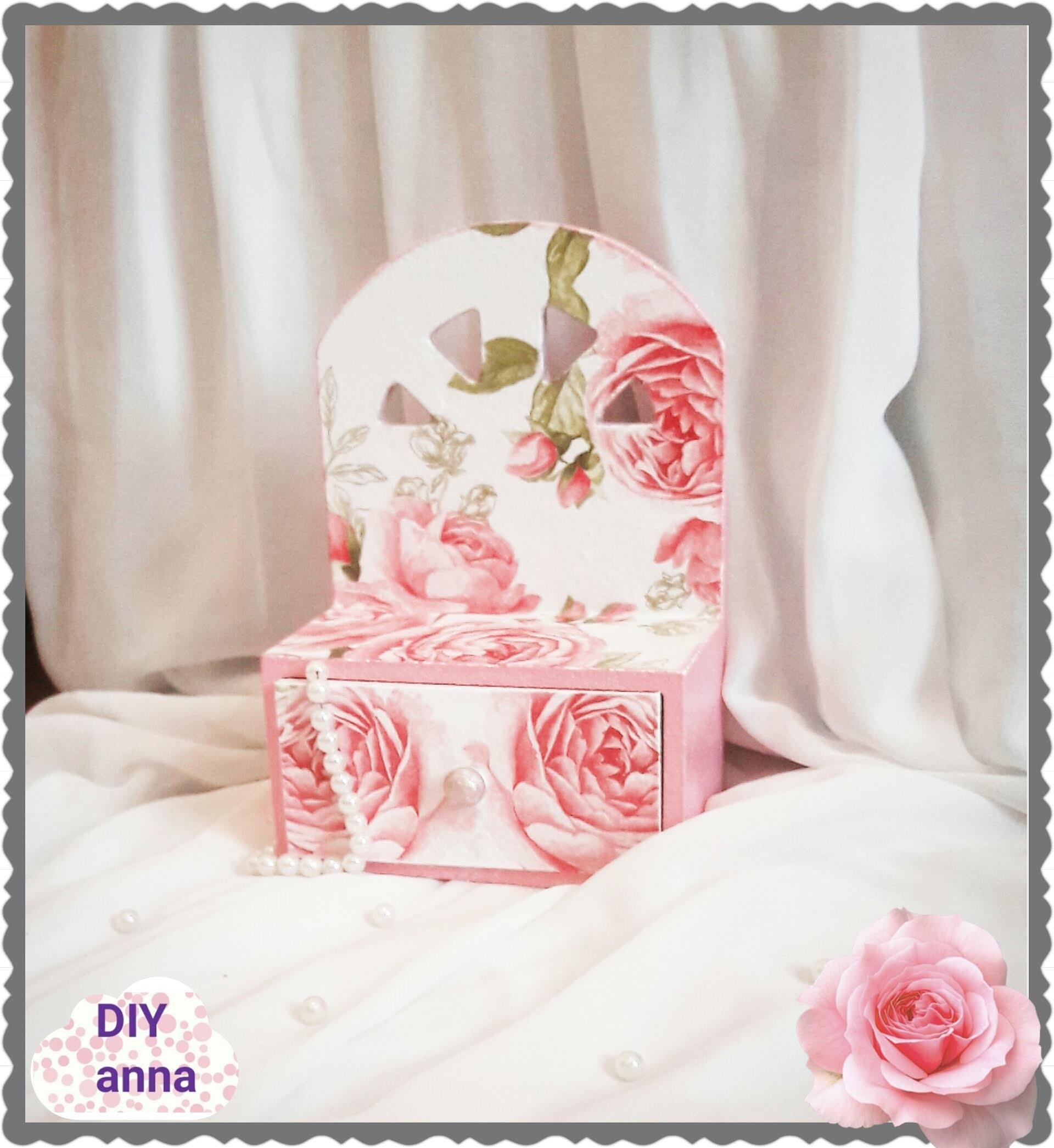 Decoupage romantic  wooden jewelry drawer DIY ideas decorations craft tutorial