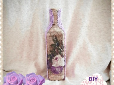 Decoupage shabby chic yarn bottle DIY ideas decorations craft tutorial
