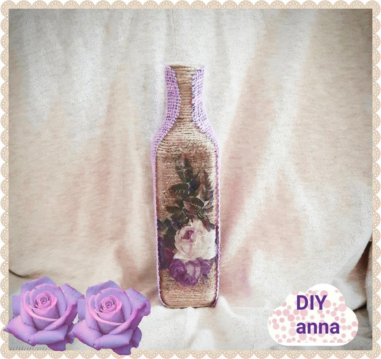 Decoupage shabby chic yarn bottle DIY ideas decorations craft tutorial