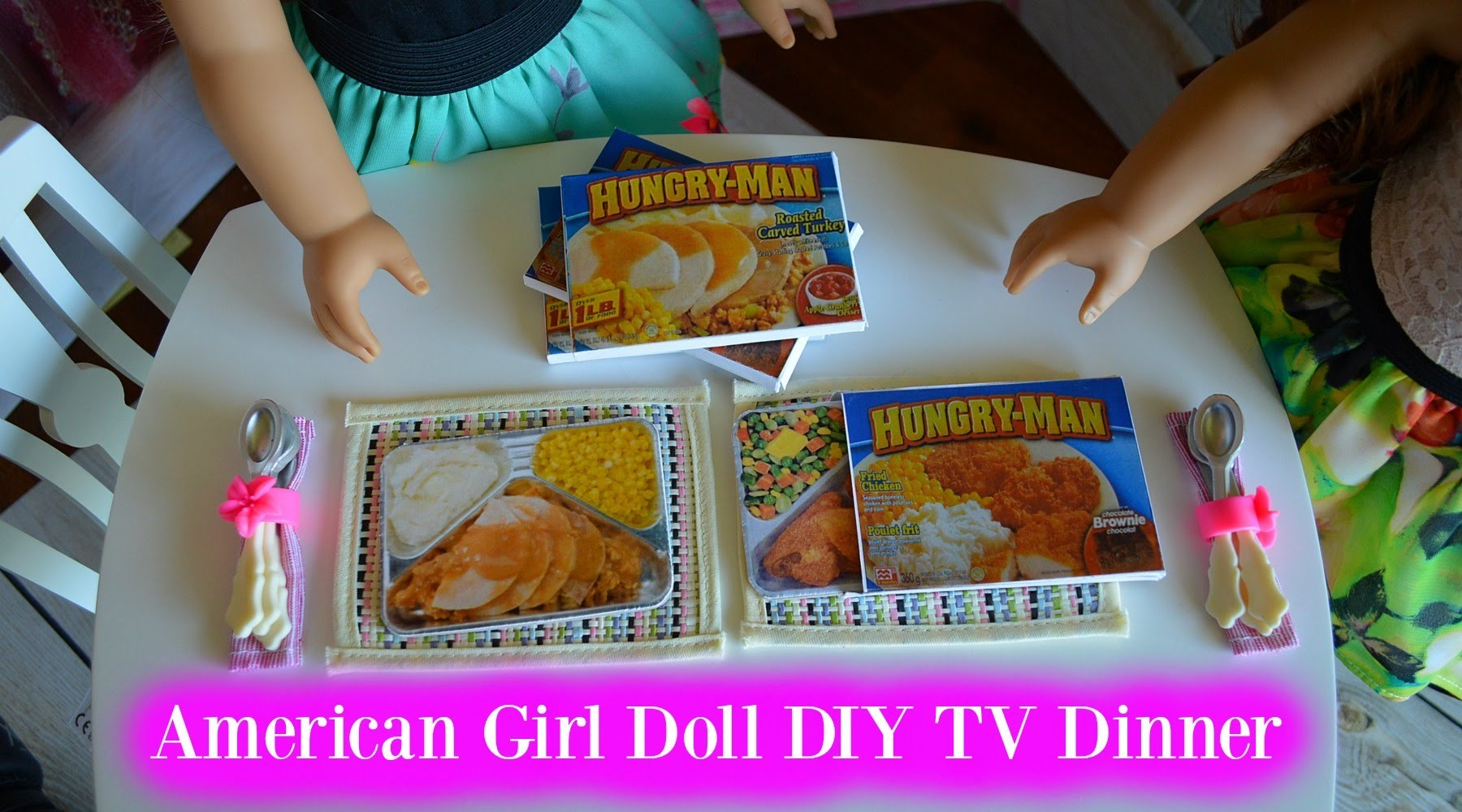 DIY American Girl Doll TV DINNERS | Craft VIdeo |  DIY Maryellen TV Dinners