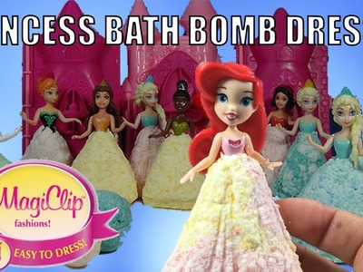DIY Bath Bombs With Disney Princess Magiclip Dresses Ariel Elsa Anna Belle Tiana
