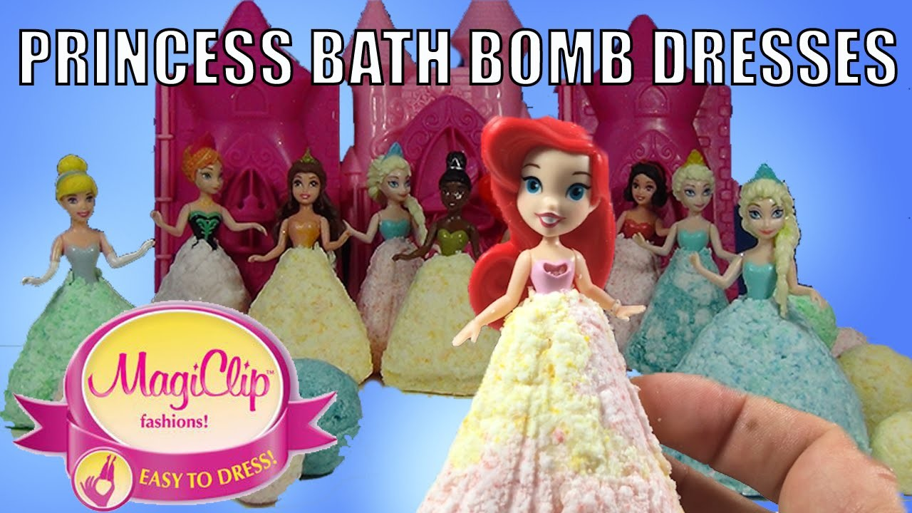 DIY Bath Bombs With Disney Princess Magiclip Dresses Ariel