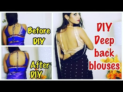 DIY easy & no sew deep back designer blouse designs.