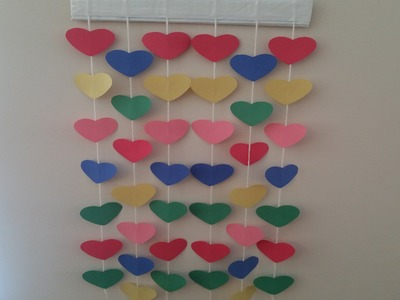 DIY : how to make Paper hanging wall decor. kids room easy colourful paper wall hanging