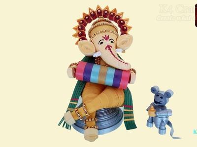 "DIY: How to make Quilling paper 3D ""Lord Ganesha"" at Home   Diwali Ganesh-Laxmiji Pooja -Part #1"