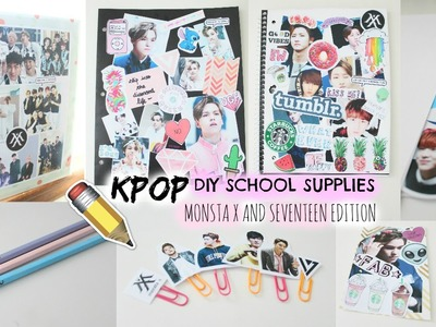 DIY: KPOP School Supplies (MONSTA X and Seventeen Edition) Watch for More! | Hunnie Bunnie ♡♡♡