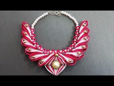 DIY Learn How to Make Beaded Kanzashi Necklace |  Ribbon Accessories Wedding Jewelry Accessories