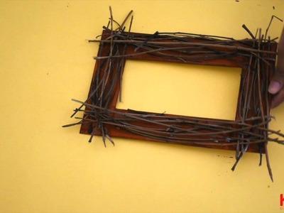 DIY twig photo frame