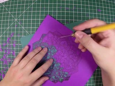 Handcut Paper Art - Purple Mandala - Speed Cut