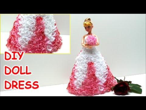 How to Make a Princess.Prom Doll Dress DIY from Tissue Paper - Doll Dress Fun