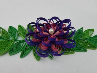 How to make a quilling flower with leaves  DIY (tutorial + free pattern)