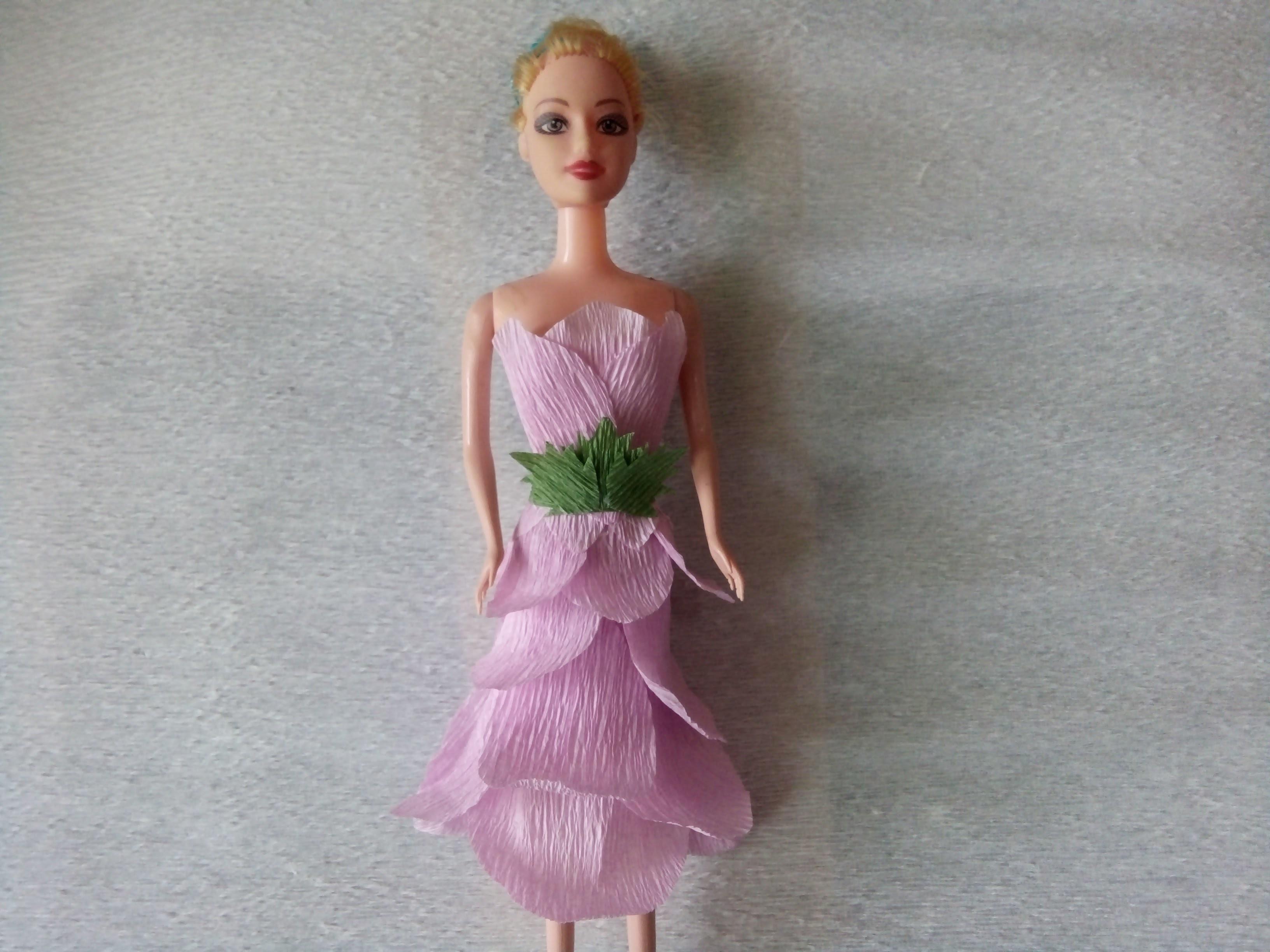 How to make paper dresses for Barbie part 5 | Làm váy búp bê Babie bằng giấy nhúm tập 5