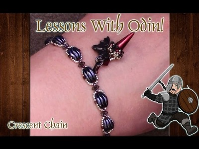 Lessons With Odin: Two Hole Crescent Chain Beaded Jewelry DIY Tutorial