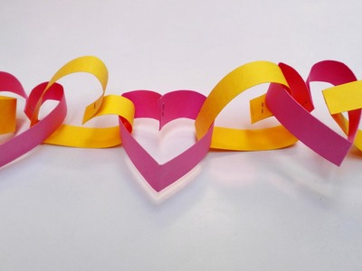 Paper Heart chain decoration for Valentines Day || Paper Heart Chain