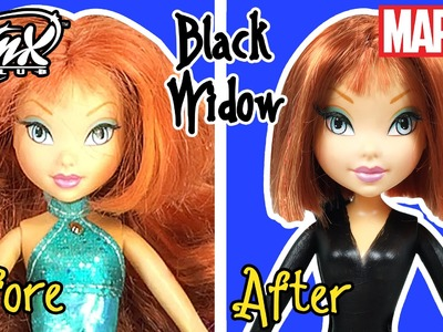 Black Widow Custom Doll using Winx Bloom - DIY Marvel Avengers Superheroes Doll