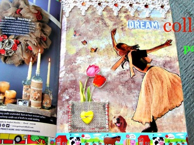 Diy: Making collage page(part of  reuse old composition book)