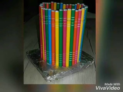 DIY pen stands from waste materials.