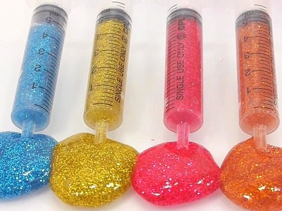DIY Syringe How To Make Glitter Slime Clay Learn Colors Disney Hello Kitty Toys Finger Family BINGO