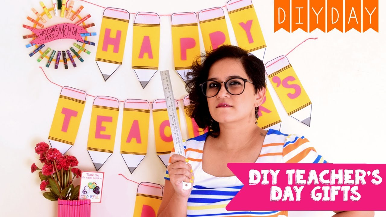 DIY Teacher's Day Gift Ideas | Card with Heart Crayons | Pencil Banner and Lots More!