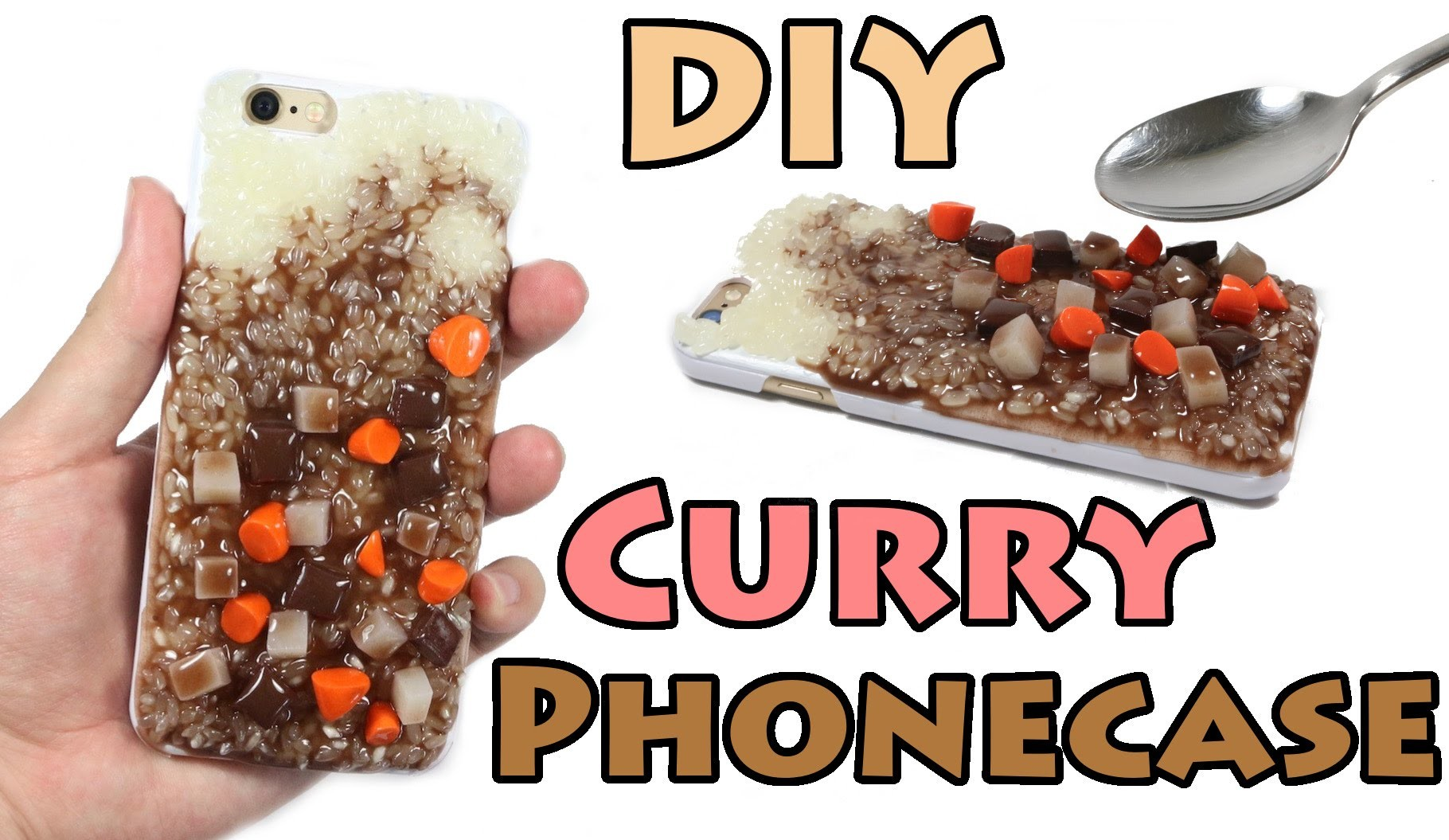 How to DIY WEIRD Curry Rice Phone Case Clay Resin Tutorial