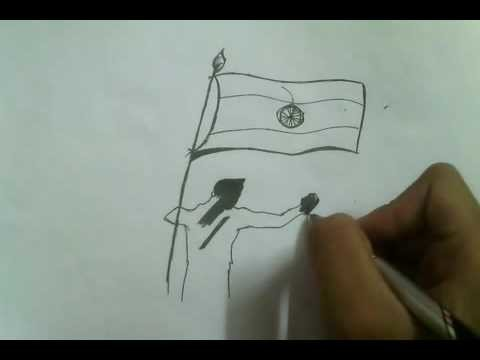 How to draw independence day drawing