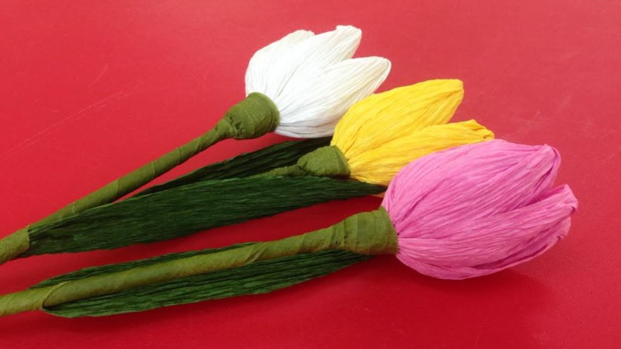 How to Make Tulip Crepe Paper Flowers - Flower Making of Crepe Paper - Paper Flower Tutorial
