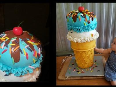 Ice cream cone cake with dummy cake cone (diy cheap dummy cake)