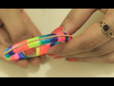 Too Simple Yet Very Beautiful Silk Thread Bangle DIY(How To Make Colorful Thread KADA at Home)Easy