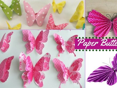 DIY crafts: Paper BUTTERFLIES - Very Easy Tutorial | Home Decor | Recycle Paper | Recycle Ideas