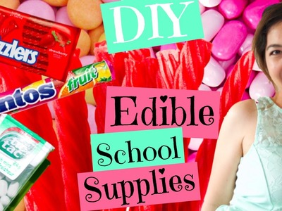 DIY EDIBLE SCHOOL SUPPLIES.Mentos Eraser.Twizzlers Pen.Tic Tac Paper Clip Holder PART 1