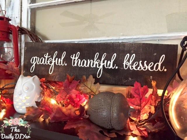 *DIY* Grateful Thankful Blessed Wood Sign