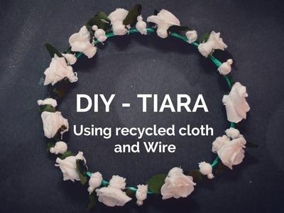 DIY - How to make a tiara? |Recycled cloth| | Hair Band | | Crown | ||Creative Indian Arts|| #8