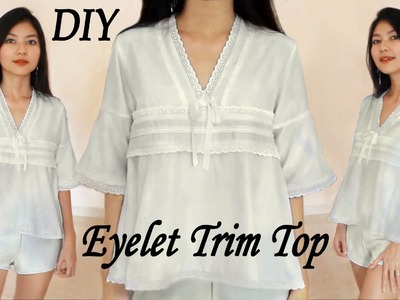 DIY Pretty Eyelet Trim Top from Scratch! Fashion Clothes Sewing Project with Mayarts Ribbon
