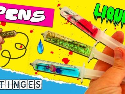 DIY SYRINGE LIQUID PENS  * Back to school SUPPLIES Liquid PENCILS