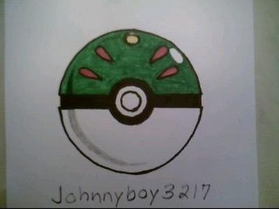 How To Draw Pokemon Friend Ball Pokeball Go 3D Easy StepTutorial Iphone Game
