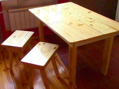 Make a Table! How to Build Wood Table + 2 Tabouret DIY