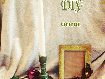 Shabby chic antique candle holder with antique paste DIY decoupage ideas decorations craft tutorial
