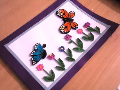 Tutorial - 1 Simple Quilling card with butterfly design (Stoney Arts and Crafts)