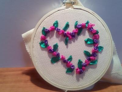 Wonderful DIY Pretty Embroidery Heart Silk Ribbon Rose + Tutorial .
