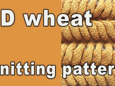 3D WHEAT -  knitting pattern for Chinchilla fur coat cardigan.