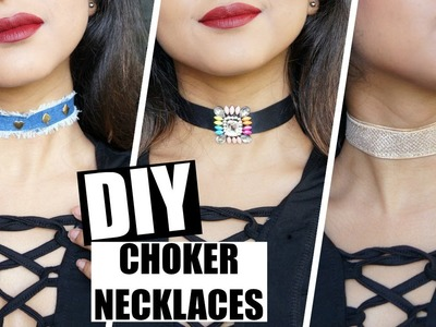 DIY CHOKER Necklaces Tutorial - Easy & Quick | Denim, Pendant, Circle | Stacey Castanha ♥♥