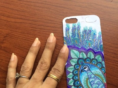 DIY henna art peacock doodle phone cover using gel pen