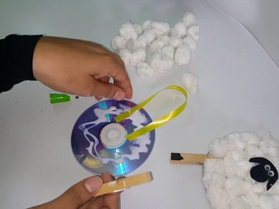 DIY How to make a lamb craft using CD
