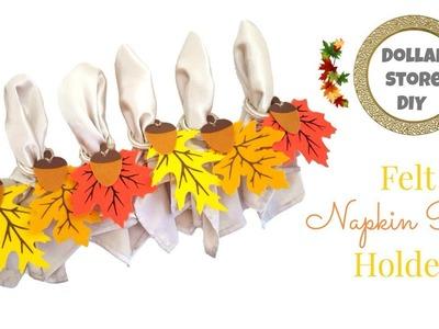 DOLLAR STORE DIY ~ Felt Napkin Ring Holders ~ Perfect Fall Tablescape Decor!