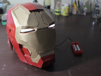 DIY Cardboard Iron Man Helmet with LED eyes