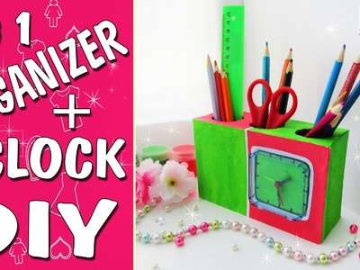 DIY DESK ORGANIZER 1 IN 2. Pensilcup+clock. FROM THE CARTON