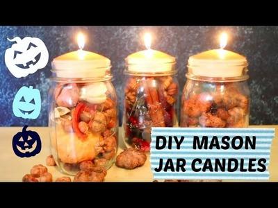 DIY FALL CANDLES   Mason Jar Candles Decoration Tutorial