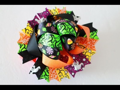 DIY Halloween Hair bow (RE-DO).  Stacked Hairbow tutorial