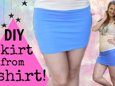 DIY How to make a Skirt from a T shirt-Upcycled t shirt EASY Tutorial